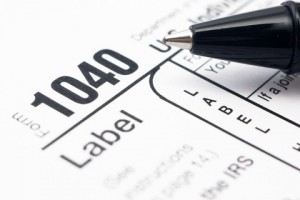 Filling in tax form 1040