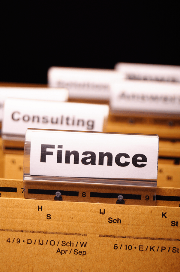close-up view of a hanging folder tab that says 'finance'
