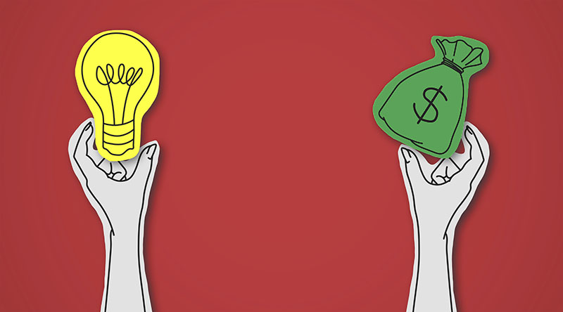 graphic of two hands. one is holding an lightbulb and one is holding a money bag