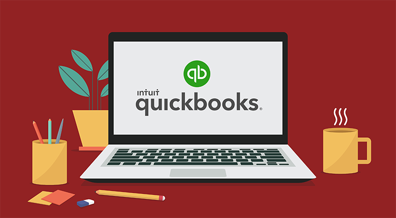 illustration of a laptop computer with the quickbooks logo on the screen